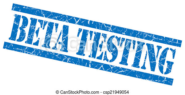 beta testing blue square grungy isolated rubber stamp - csp21949054
