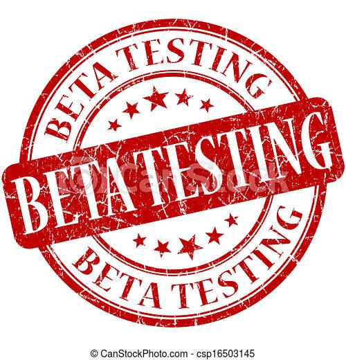 Beta testing grunge red round stamp - csp16503145