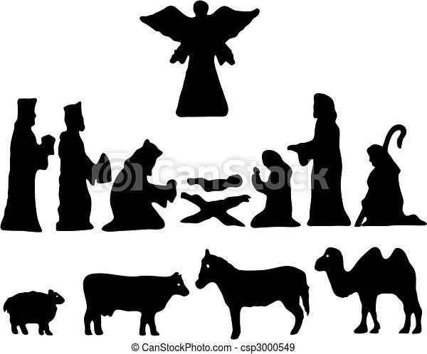 bethlehem., silhouette, étoile, nativité - csp3000549