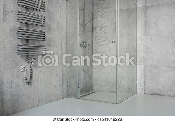 Elegant Stock Foto   Beton, Fliesenmuster, Modern, Badezimmer, Geräumig