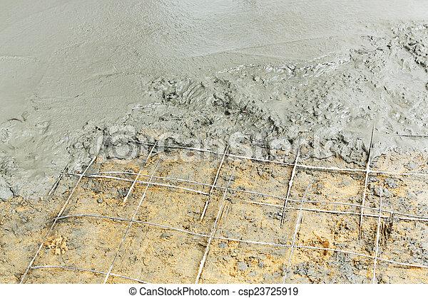 Betonieren Boden Giessen Giessen Draht Boden Prozess Auf Zement