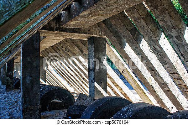 Betonieren Pfeiler Zaun Sommer Draussen Zaun Saule Sonnig