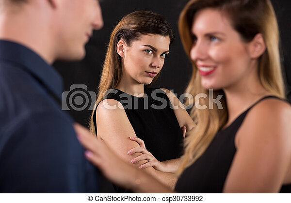 Woman seducing a woman