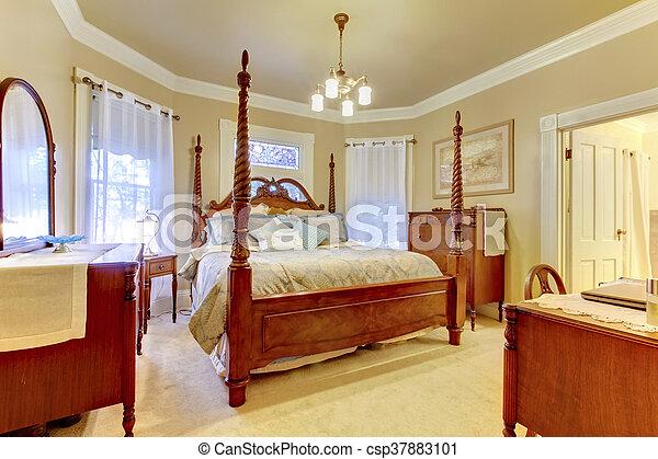 Bett Hoch Stange Holz Nachttisch Luxus Schalfzimmer