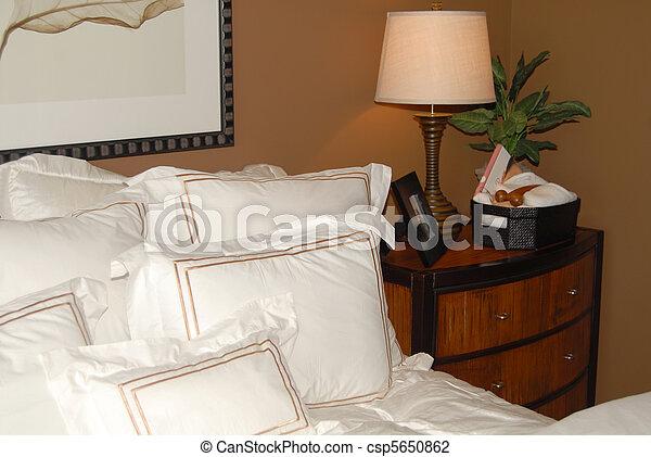 Bettdecke Weisses Nachttisch Bett Ecke Bett Bettdecke