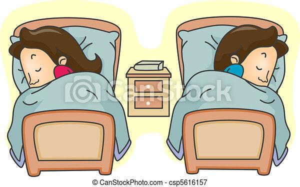 betten getrennt betten paar liegen abbildung getrennt. Black Bedroom Furniture Sets. Home Design Ideas