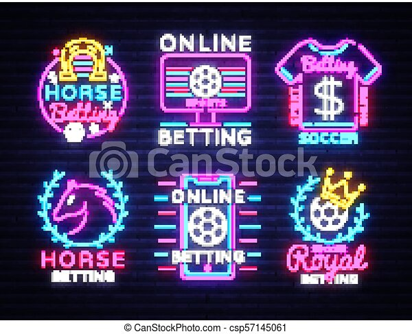 Betting Big Collection neon signs  Set betting sports logo in neon style,  horse, soccer, football concept, light banner, night betting sports