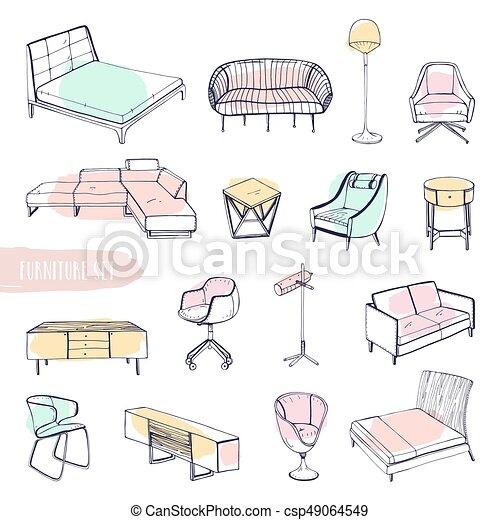 Sessel gezeichnet  Bettseite, verschieden, satz, sofas, furniture., betten,... EPS ...