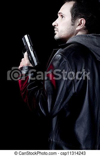 beväpnat, man, pistol, rånare, ensam - csp11314243