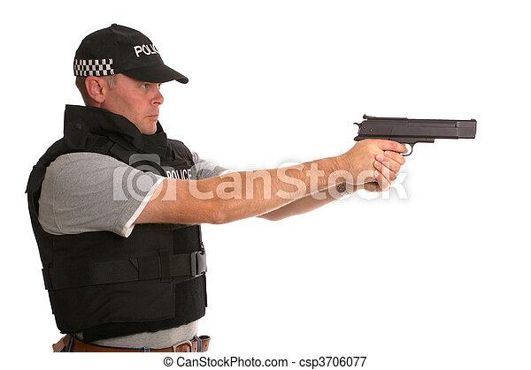 beväpnat, polis, hemlig - csp3706077