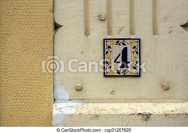 bevakol, wall., szám, pajzs, négy - csp31207620