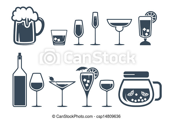 bevanda, bevanda, set, alcool, icone - csp14809636