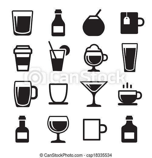 bevanda, bevanda, set, icone - csp18335534
