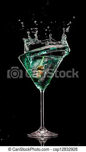 bevanda, isolato, sfondo nero, schizzo, martini - csp12832928