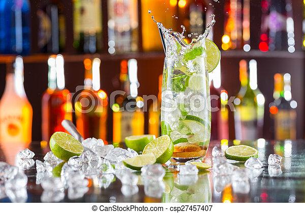 bevanda, mojito, contatore, sbarra, cocktail - csp27457407