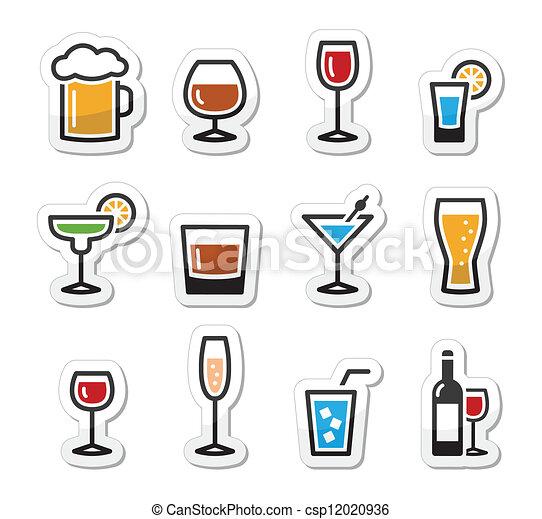bevanda, set, alcool, bevanda, icone - csp12020936