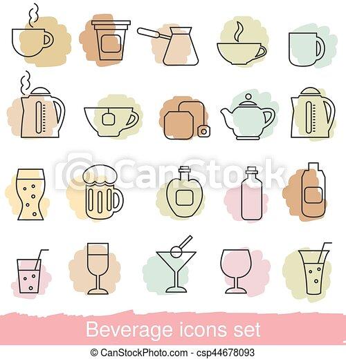 bevanda, set, icone - csp44678093