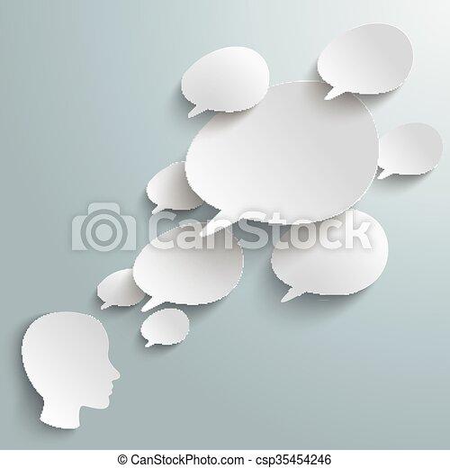 Bevel Speech Bubbles Human Head - csp35454246