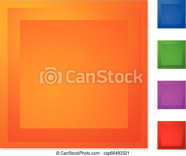 Bevel square button, banner in 5 color - csp66483321