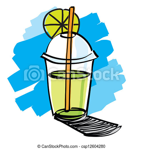 beverage cup with drinking straw - csp12604280