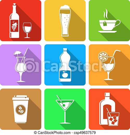 Beverage flat design icons - csp49637579