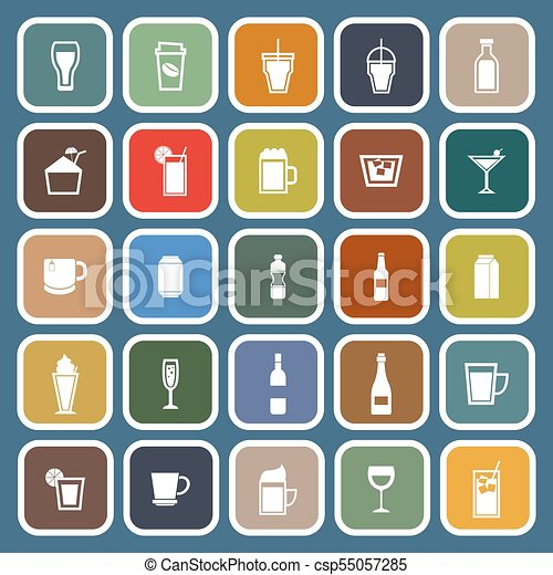 Beverage flat icons on blue background - csp55057285
