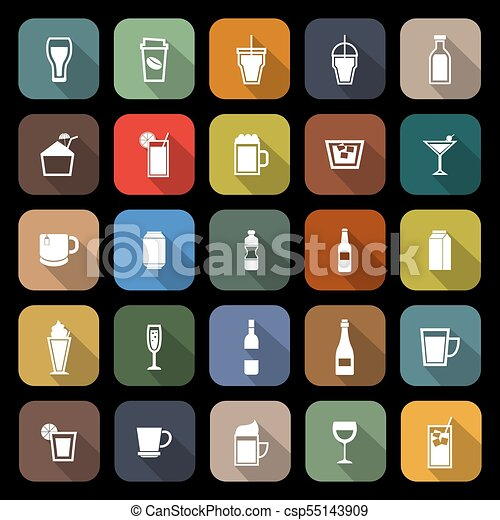 Beverage flat icons with long shadow - csp55143909