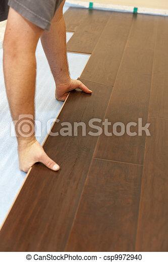 bevloering, laminaat, installeren, hout, nieuwe man - csp9972940