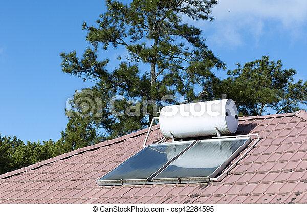 Bewässern Heizung, Heiß, Dach, Haus   Csp42284595