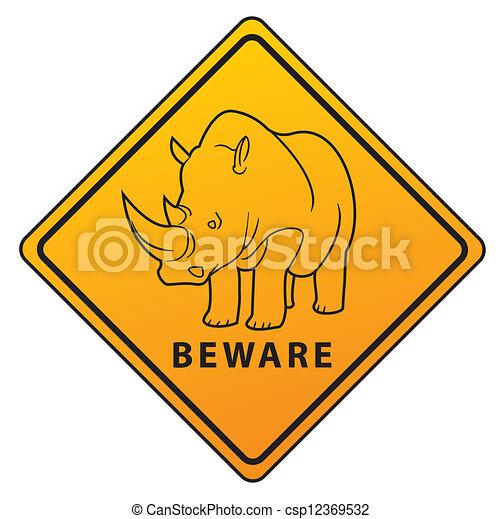 Beware Symbol Rhino - csp12369532