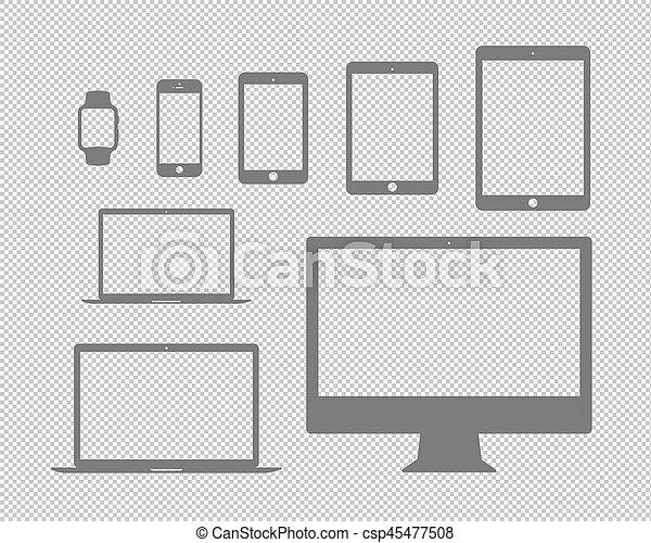 beweeglijk, set, plat, tablet, horloge, draagbare computer, computer ikoon - csp45477508