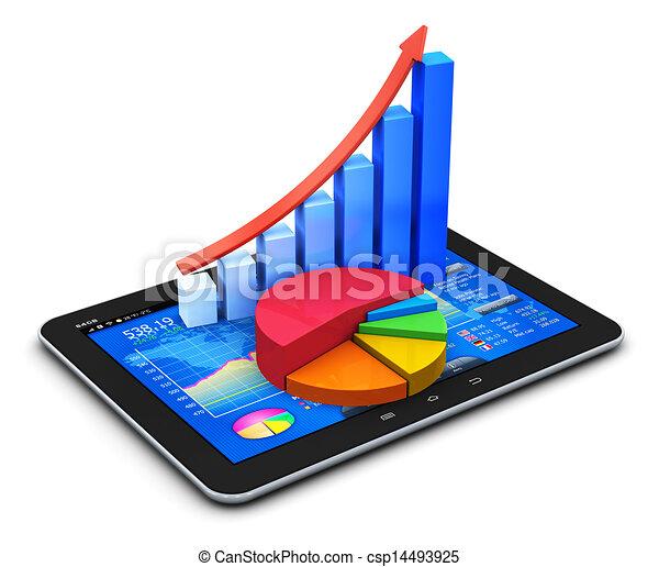 Mobile Finanzen und Statistiken Konzept - csp14493925