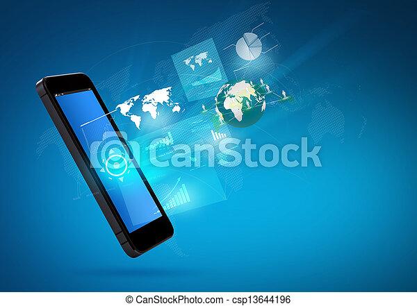 Moderne Kommunikationstechnologie-Handy - csp13644196
