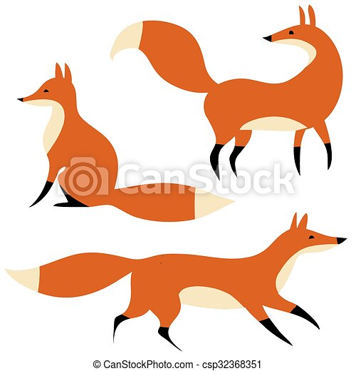 bewegung, rotes , drei, füchse, karikatur - csp32368351