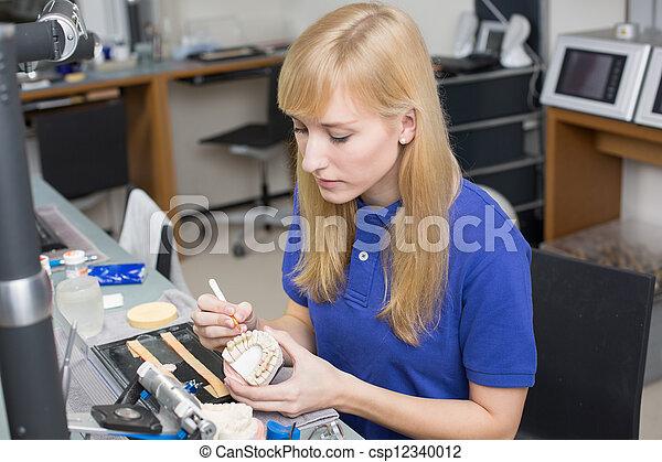 bewerben, dental, präparator, form, porzellan, dentition - csp12340012