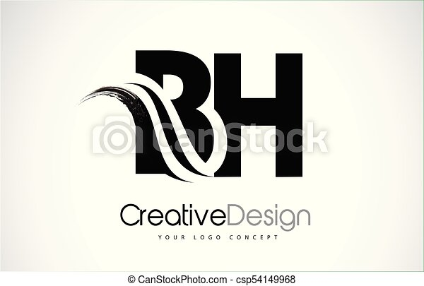 Line Art Letters : Bh b h creative brush black letters design with swoosh