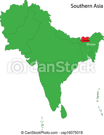 Bhutan map. Location of bhutan on southern asia.