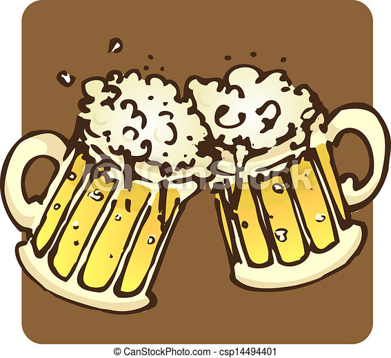 bière, grandes tasses - csp14494401