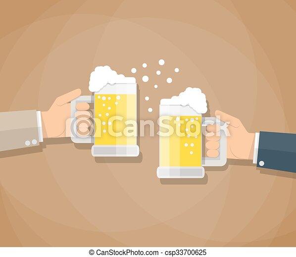 bière, grillage, deux, lunettes, hommes affaires - csp33700625