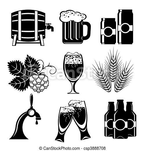 bière, icônes - csp3888708