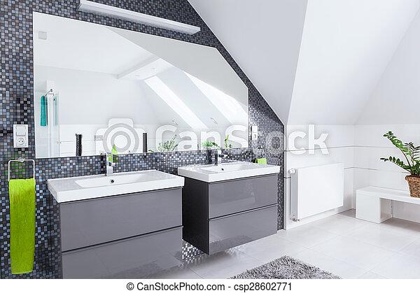 Biały łazienka Szary