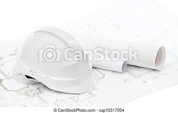 biały, twardy kapelusz, rysunki, pracujący - csp10317054