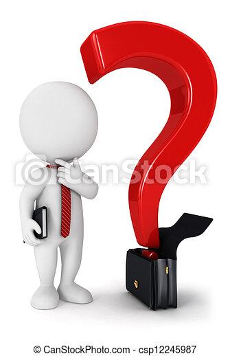 bianco, 3d, domanda, persone affari - csp12245987