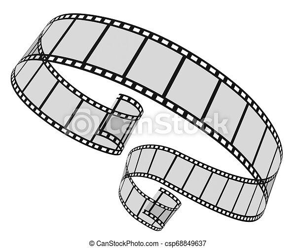 bianco, 3d, striscia cinematografica - csp68849637