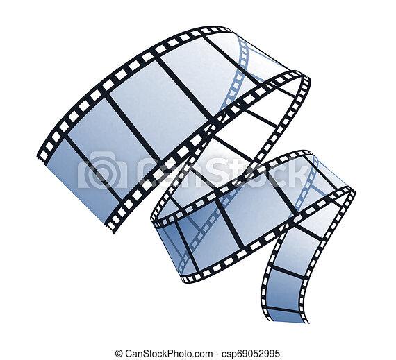 bianco, 3d, striscia cinematografica - csp69052995
