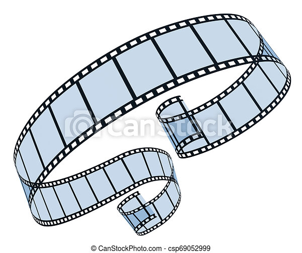bianco, 3d, striscia cinematografica - csp69052999