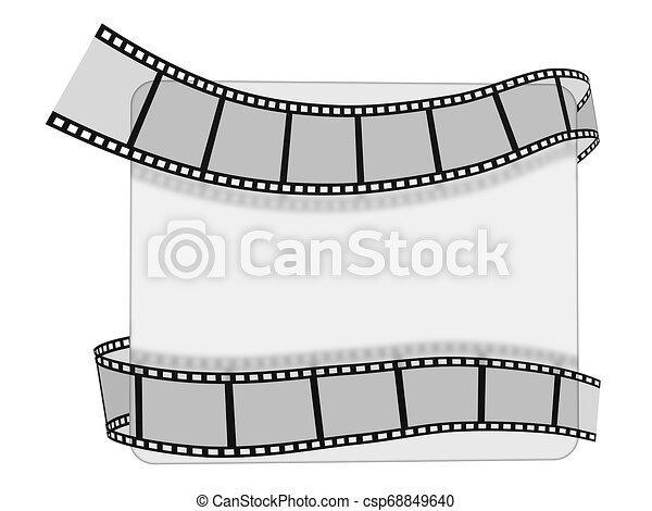bianco, 3d, striscia cinematografica - csp68849640