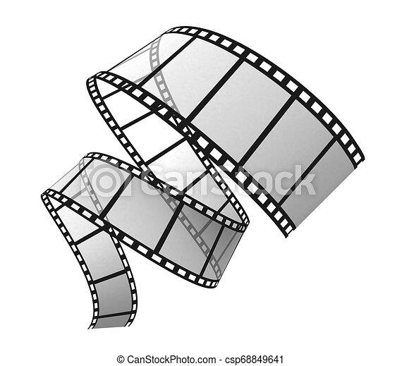 bianco, 3d, striscia cinematografica - csp68849641