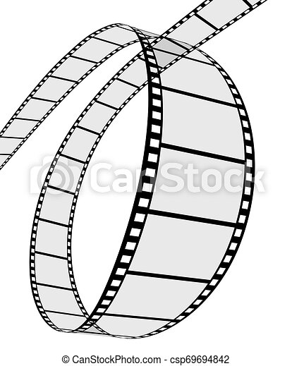 bianco, 3d, striscia cinematografica - csp69694842
