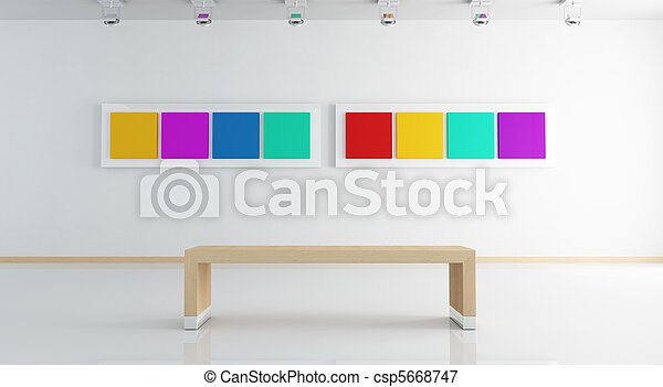 bianco, arte, contemporaneo, galleria - csp5668747
